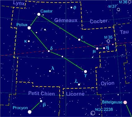 Carte pour la constellation des fr:Gémeaux Produite à l'aide du logiciel PP3 - Grum / Orthogaffe / Looxix / Korrigan - Wikimedia Commons